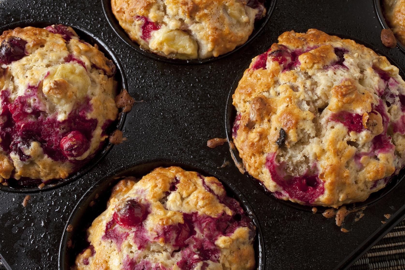 Gluten-free Mixed Berry Walnut Muffins