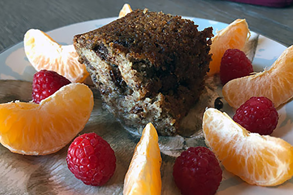 banana bread with fruit around it